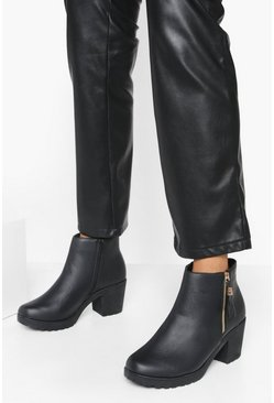 Black Wide Fit Zip Side Chunky Heel Chelsea Boots