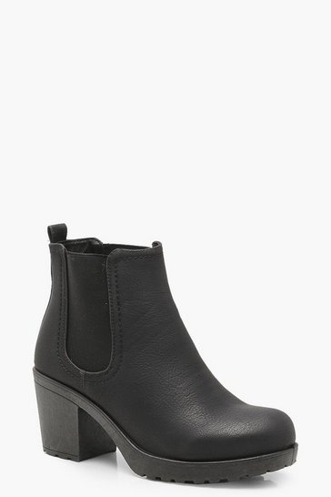 Black Wide Fit Chunky Cleated Heel Chelsea Boots