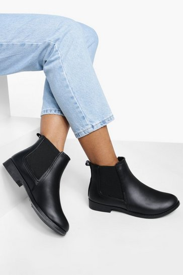 Black Flat Chelsea Boots