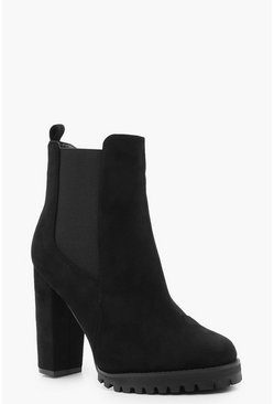 Black Cleated Platform Suedette Pull On Chelsea Boots