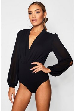 Black Wrap Chiffon Sleeve Bodysuit