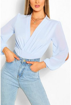 Pale blue blue Wrap Chiffon Sleeve Bodysuit
