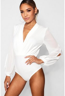 White Wrap Chiffon Sleeve Bodysuit