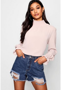 Blush pink Shirred Collar Blouse