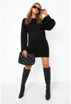 Oversized Wide Sleeve Jumper Dress, Black