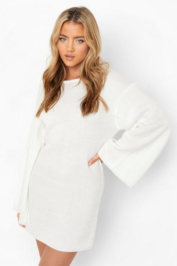 Cream white Oversized Wide Sleeve Jumper Dress