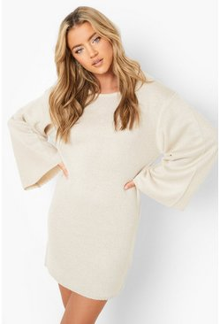 Stone beige Oversized Wide Sleeve Sweater Dress