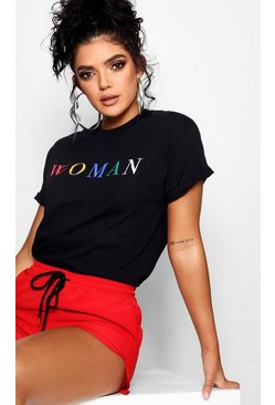 Black Woman Rainbow Slogan T-Shirt