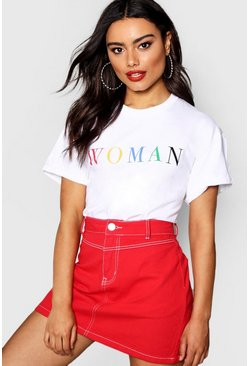 Wit white Dames t-shirt met slogan Rainbow