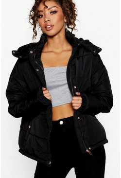 Black Rose Gold Trim Puffer Jacket