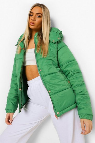 Khaki Rose Gold Trim Puffer Jacket