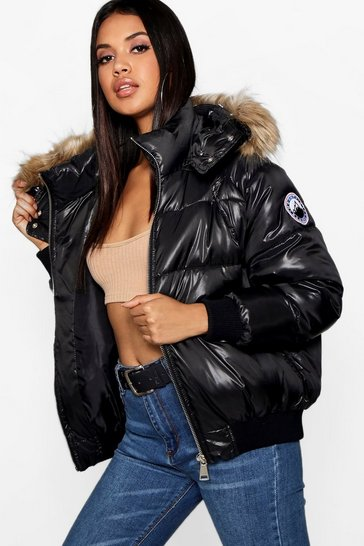 Black Faux Fur Trim Cire Puffer Jacket