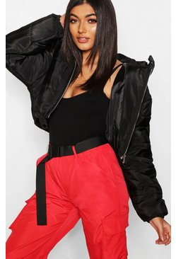 Black Crop Hooded Puffer Jacket