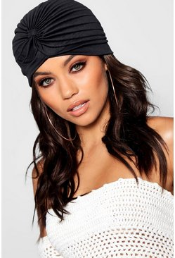 Black Twist Knotted Hat