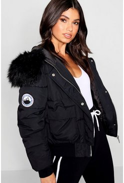Black Faux Fur Hood Crop Puffer