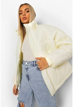 Cream white Oversized Hooded Puffer Jacket