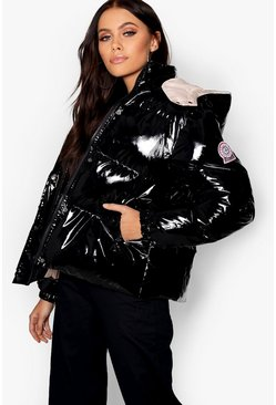 Black Hooded Vinyl Puffer Jacket