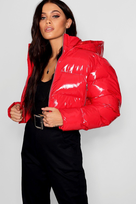 Crop Vinyl Puffer Jacket | boohoo SE