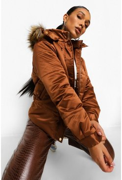 Chocolate brown Matte Satin Faux Fur Trim Puffer