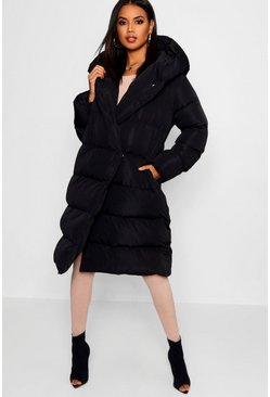 Black Wrap Duvet Coat