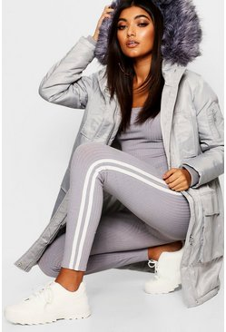 Grey Faux Fur Trim Sporty Parka