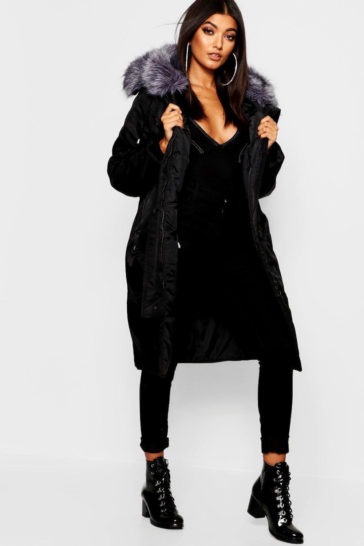 Parka Coats Oversized Faux Fur Fly Hood Luxe Parka