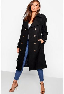 Black Belted Wool Look Trench