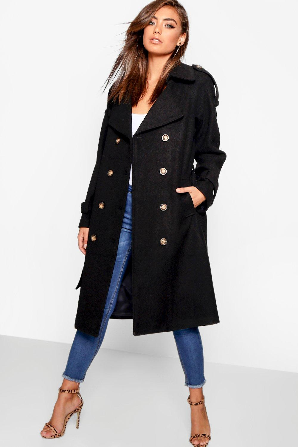 Trench Coats Belted Wool Look Trench