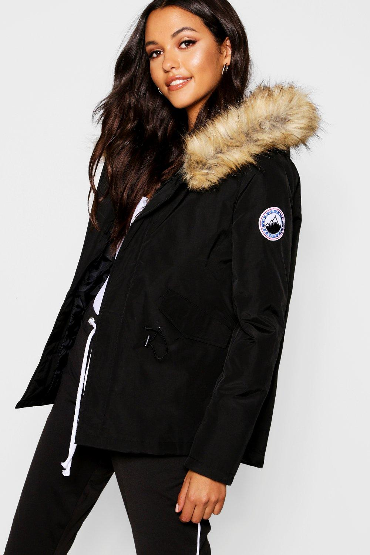 COATS & JACKETS Luxe Faux Fur Sporty Parka