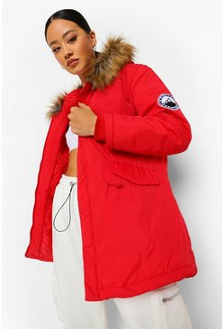 Red Luxe Faux Fur Sporty Parka