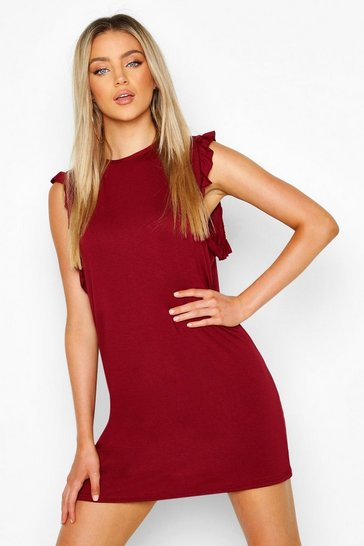 Berry Ruffle Detail Jersey Shift Dress