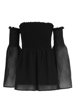 Black Brinley Bardot Sheared Waist Playsuit