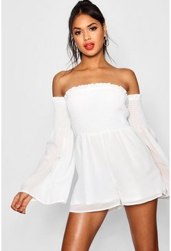 White Brinley Off The Shoulder Sheared Waist Romper