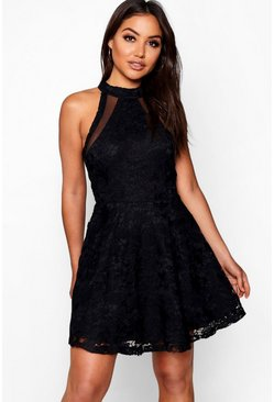 Black Lace High Neck Skater Dress