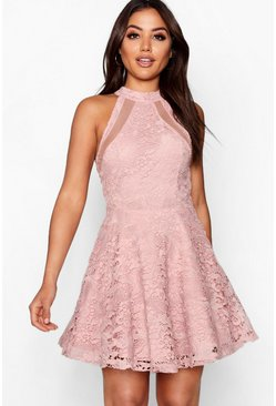 Blush pink Lace High Neck Skater Dress
