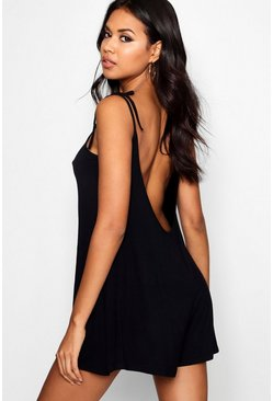 Black Low Back Tie Shoulder Romper