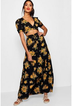 Black Vic Floral Plunge Maxi Skirt Co-ord Set