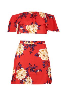 Red Floral Ruffle Top and Mini Skirt Set