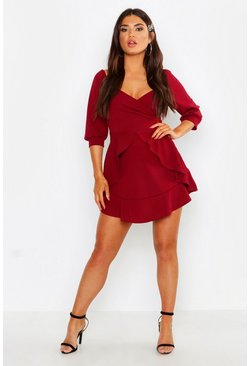 Berry red Ruffle Detail Wrap Skater Dress