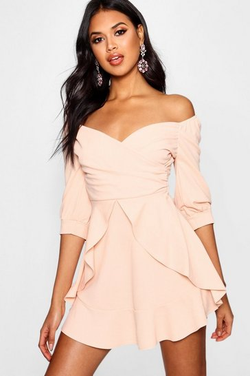 Blush pink Ruffle Detail Wrap Skater Dress