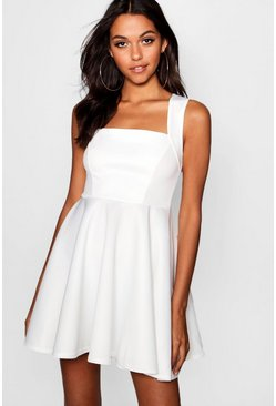 White Square Neck Skater Dress