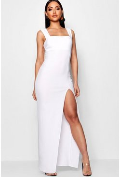 White Square Neck Tie Side Split Maxi Dress