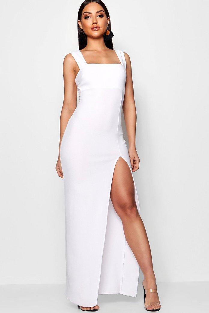 approccio Cumulativo Letteratura  Square Neck Tie Side Split Maxi Dress | boohoo