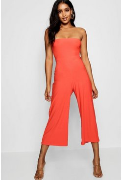 Orange Bandeau Culotte Jumpsuit