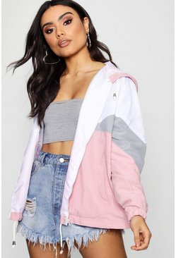 Pink Hooded Panelled Windbreaker