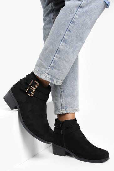 Black Double Buckle Chelsea Ankle Boots