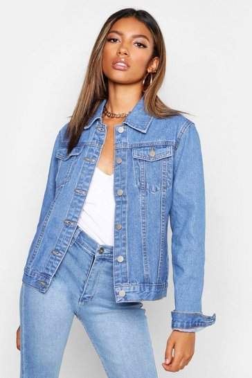 Mid blue blue Fitted Denim Jacket