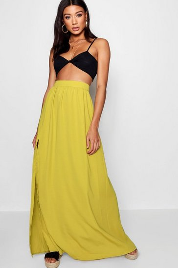 Citrus lime Basic Woven Floor Sweeping Maxi Skirt