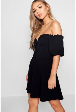 Black Lace Up Front Puff Sleeve Tea Dress