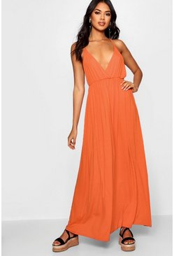 Tangerine orange Plunge Front Floor Sweeping Maxi Dress